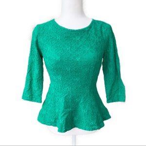 Moulinette Soeurs (Anthro) Green Lace Peplum Top